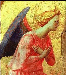 A cropped photo of an altarpiece showing an angel