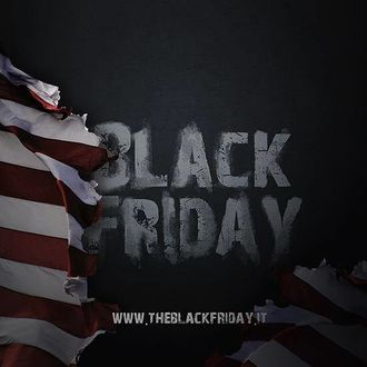 A torn US flag in front of a black background with white text saying Black Friday.