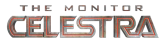 A logo in a science fiction font saying The Monitor Celestra